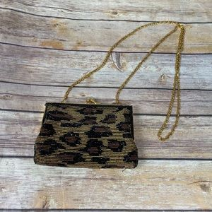 Valerie Stevens Leopard Beaded Clutch/shoulder Bag